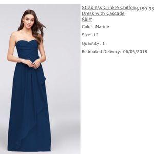 d0e82f1b7676 David's Bridal. Marine long bridesmaid dress